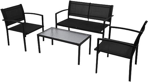 vidaXL Conjunto de Muebles de Jardín Incluye 4 Piezas con Banco de Color Negro: Amazon.es: Jardín