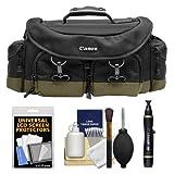 Canon 1EG Digital SLR Camera Case Gadget Bag + LCD Protectors + Kit for EOS 6D, 70D, 7D, 5DS, 5D Mark II III, Rebel T5, T5i, T6i, T6s, SL1