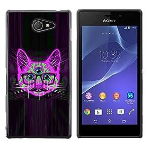 TopCaseStore / la caja del caucho duro de la cubierta de protección de la piel - Handlebar Smart Glasses Neon Cat Purple - Sony Xperia M2