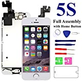 MAFIX for iPhone 5S Screen Replacement-White, with Home Button, Front Camera, Earspeaker Full Assembly LCD Display Digitizer Touch Screen Repair Kits for A1533, A1453