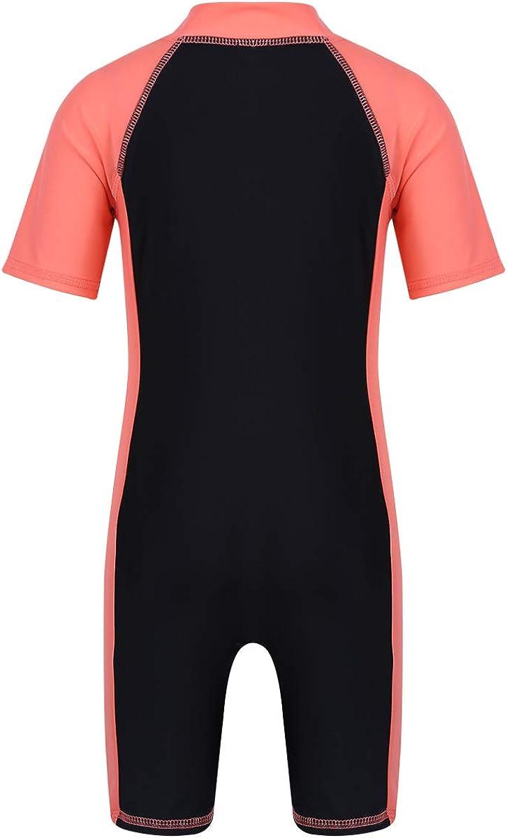 JEATHA Kids Girls Boys One Piece Short Sleeves Swimwear Shorty Surfing Wetsuit Rash Guard with Zipper Front Swimsuit