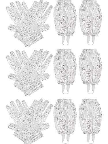 3 Sets White Sequin Gloves Glitter Gloves and Stirrup Socks for Michael Jackson Costume