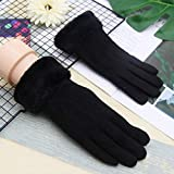 Leather Gloves Ladies Winter Plus Velvet Thick Warm Cute Student Cotton Five-Finger Gloves, Outdoor Riding Gloves
