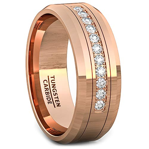 Duke Collections 8mm Rose Gold Tungsten Carbide Ring 11 Cubic Zircon Mens Wedding Comfort Fit (7)