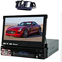 EinCar In-Dash Single-DIN 7 inch Motorized Flip-Up Touchscreen Car DVD/CD/USB/SD/MP4/MP3 Player GPS Navigation DVD Player Bluetooth Detachable Front Panel Wireless Remote+ Back Camera