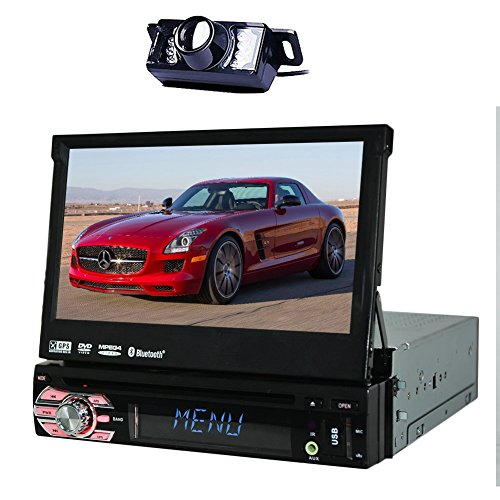 e-DIN 7 inch Motorized Flip-Up Touchscreen Car DVD/CD/USB/SD/MP4/MP3 Player GPS Navigation DVD Player Bluetooth Detachable Front Panel Wireless Remote+ Back Camera ()