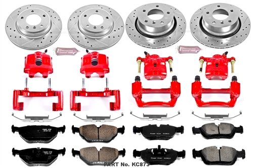 Power Stop KC873 1-Click Performance Brake Kit with Caliper, Front & Rear ()