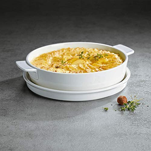 Villeroy & Boch Clever Cooking Plat à four rond avec couvercle, 2 pièces, 24 cm, Porcelaine Premium, Blanc
