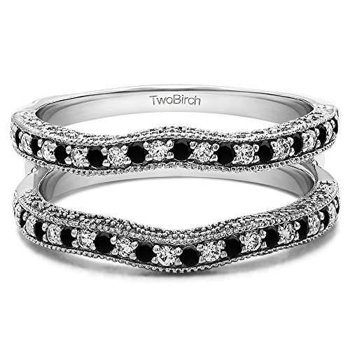 (TwoBirch 0.26 ct. Black And White Cubic Zirconia Contour Ring Guard with Millgrained Edges and Filigree Cut Out Design in Sterling Silver (1/4 ct. twt.))