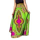 Comaba Womens Half Dashiki Big Pendulum African Print Highwaist Long Skirt 1 XL