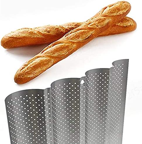 Silver iMiMi French Bread Pan Baguette Mold Non-Stick Perforated for Baking 4 Loaves Wave Baker