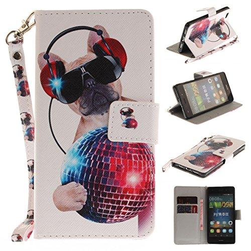 Para Huawei P8 Lite funda, (lobo) caja del teléfono de la PU patrón en pintado ,Función de Soporte Billetera con Tapa para Tarjetas correa de mano soporte para teléfono moda del perro