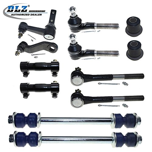 DLZ 12 Pcs Front Suspension Kit-2 Inner 2 Outer Tie Rod End 2 Adjusting Sleeve 2 Sway Bar 2 Upper Control Arm Bushing Kit 1 Idler Arm 1 Pitman Arm Compatible with 1994-1999 Dodge Ram 1500 2500 RWD 2WD (Cars Suspension And Steering)