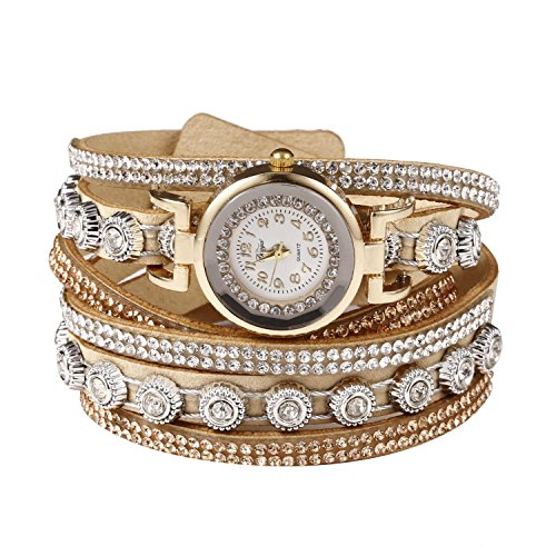 Cnlinkco Women Fashion Casual Decor Round Rhinestone Bracelet Watch (Beige) Band Rhinestone Decor