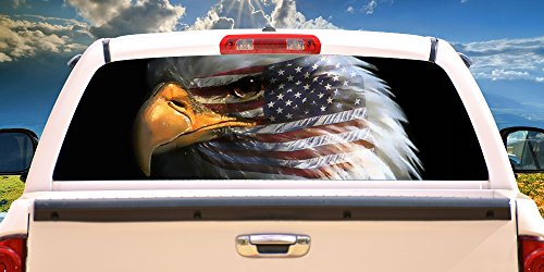 SignMission WARBIRD Rear Window Graphic Bald Eagle Truck View Thru Vinyl, 22
