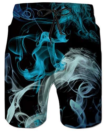 UNIFACO Mens Designer Short Swim Trunks Graphic Printing Blue Smoke Summer Holiday Beach Shorts Unique Printed Swimwear Bathingsuit X-Large