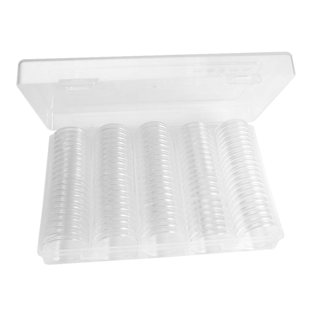 SUNERLORY 100Pcs 30mm Protect Coin Cases C/ápsulas Holder Clear und Storage Box Durable 27mmTransparente