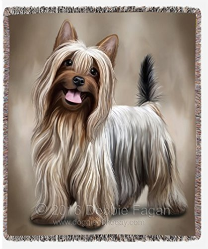 Australian Silky Terrier Dog Art Portrait Print Woven Throw Blanket 54 x 38 B01M084OWT