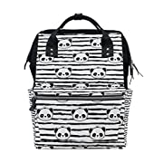 ALIREA Black And White Panda Bear Strip Pattern Diaper Bag Backpack, Large Capacity Muti-Function Travel Backpack