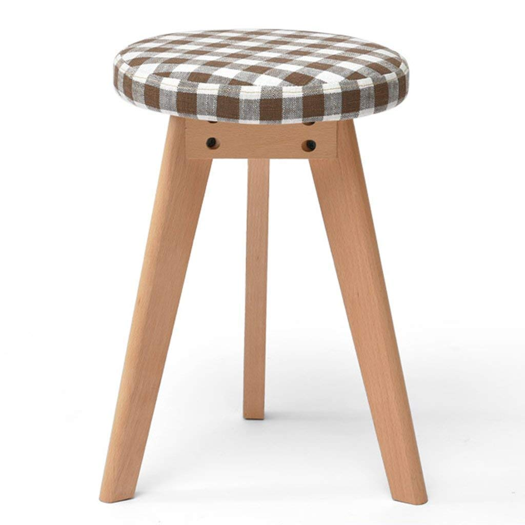 D-Z Stuhl Hocker Stoff Make-Up Hocker Massivholz Hocker Esstisch Hocker/Mode Kreative Runde Hocker, A, 3 Stück, Schemel, a