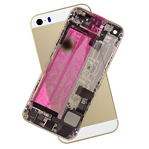for iPhone 5S Full Housing Assembly With Logo Rear Housing Back Metal Cover Case Battery Door Complete Full Assembly with Small Parts Replacement,Gold -  Saimspunhgone