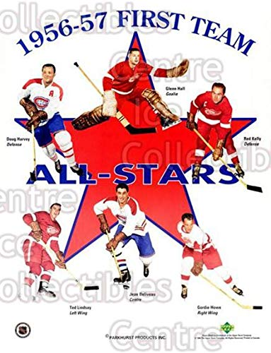 (CI) Doug Harvey, Glenn Hall, Red Kelly, Ted Lindsay, Jean Beliveau, Gordie Howe Hockey Card 1994 Parkhurst Missing Link 56-57 Sheets 2 Doug Harvey, Glenn Hall, Red Kelly, Ted Lindsay, ()