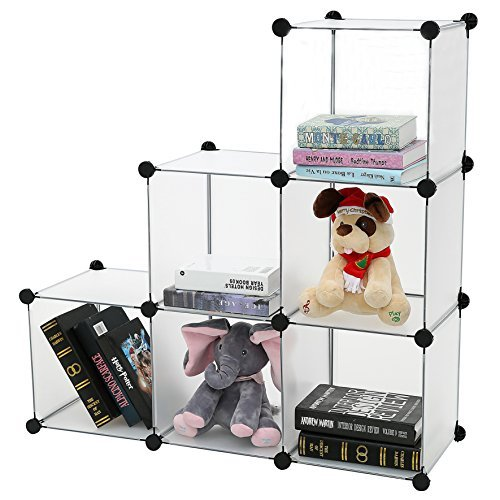 C&AHOME - DIY Bookcase Media Storage Standing Shelf Storage Cabinet Cube of 6, Semitransparent by C&AHOME (Image #2)