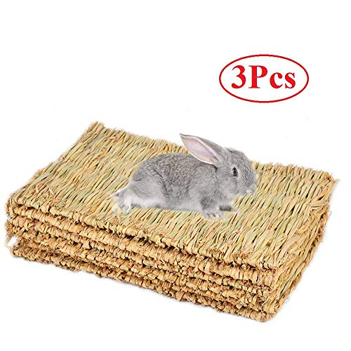 Cedmon Rabbit Mat,Woven Seagrass Mats Rabbits,Safe & Edible Rabbit Mats Cages,Bunny Chew Toys Rabbits