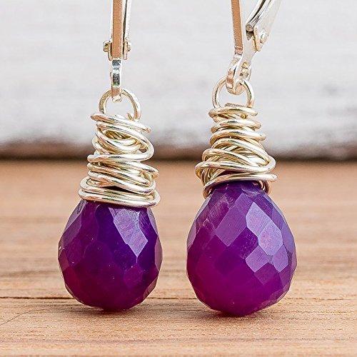 Gemstone Silver Wire - Wire Wrapped Purple Chalcedony Gemstone Earrings in Sterling Silver