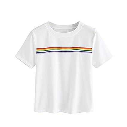 LILICAT® 2018 Moda Casual Rainbow Block Striped Crop Colegiala Adolescente, Cuello Redondo Deportes Camisetas