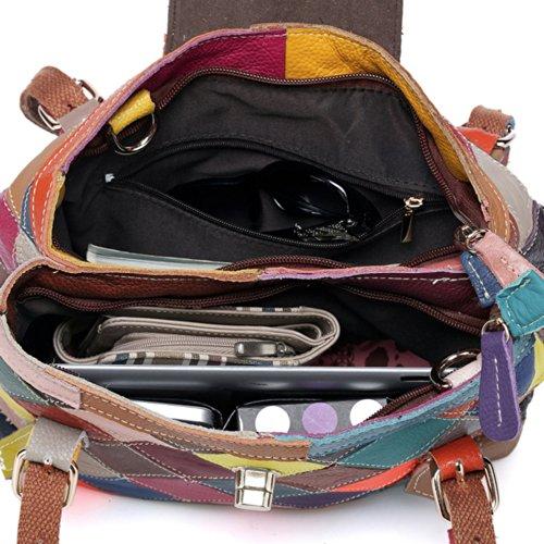 Plaid Grain Fashion Korean Handbag Genuine Oneworld Multi Full Cowskin Bag Leather New Women Shoulder EY5qqz