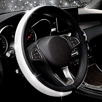 COFIT Crystal Steering Wheel Cover, Diamond Like, Microfiber Leather, Fashionable, Universal M 14 1/2-15 1/3 Inch: Automotive