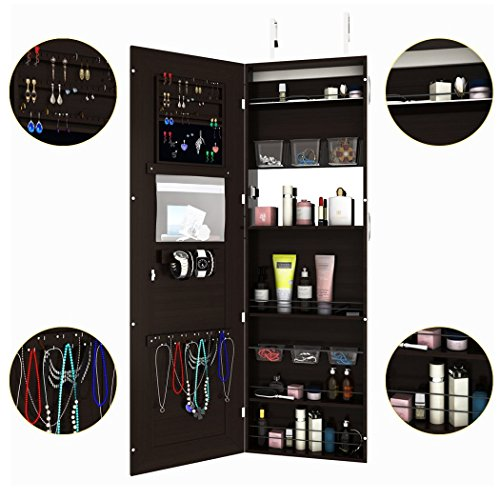 FDegage Jewelry Cabinet Lockable Wall Door Mounted Jewelry Armoire Storage Organizer with Full Length Mirror Valentine's Day Gift by FDegage (Image #1)