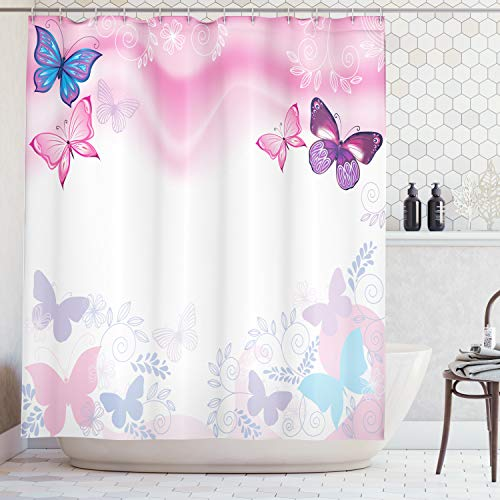 Ambesonne Teen Girls Decor Collection, Flowers and Butterflies Curly Wavy Leaves Insect Summertime Artistic Design, Polyester Fabric Bathroom Shower Curtain, 75 Inches Long, Blue Pink White (Shower And Curtain Pink Purple)