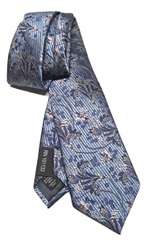 New Men's 5 Star Ermenegildo Zegna Blue Floral Woven Pattern Italian Silk Tie