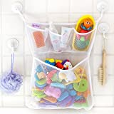 "#2: Bath Toy Organizer -The Original Tub Cubby - Large 14x20"" Quick Dry Bathtub Mesh Net - Massive Baby Toy Storage Bin + 3 Soap Pockets - 100% Guaranteed for Life"
