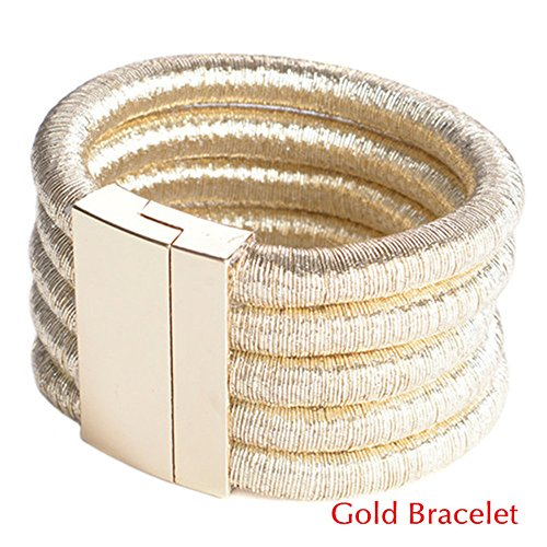 FANCY LOVE New Stretch Rope Gold Punk Wide Colar Statement Maxi Bracelet