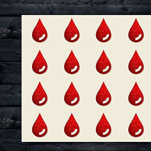 Drop Blood Leak Dropping Cry Craft Stickers, 44 Stickers at 1.5 Inches, Great Shapes for Scrapbook, Party, Seals, DIY Projects, Item 239863
