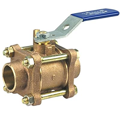 "NIBCO NJ93006 Cast Bronze Ball Valve, Three-Piece, Lever Handle, 1/2"" Female Solder Cup by NIBCO"