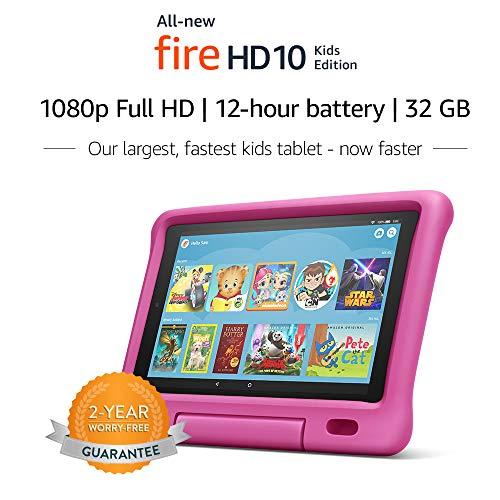 "Fire HD 10 Kids Tablet – 10.1"" 1080p full HD display, 32 GB, Pink Kid-Proof Case"