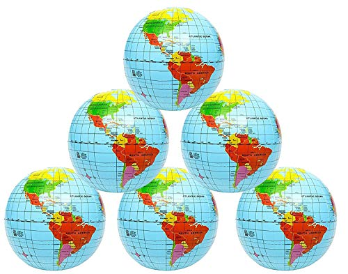 Kicko Inflatable World Globe - 16 Inch 6 Pack Political and Topographical Globes, Learning -