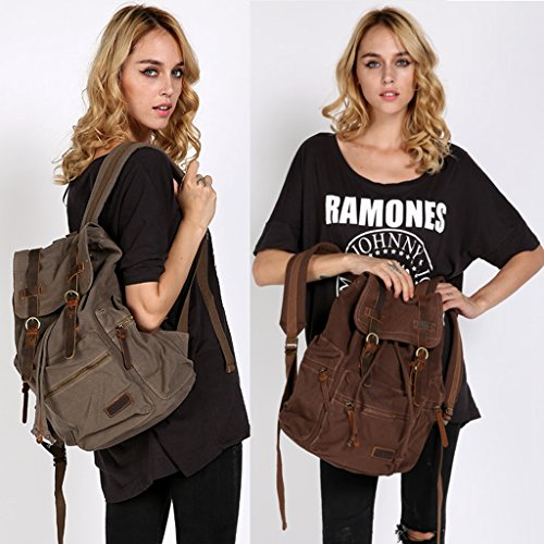 Bolsa - de senderismo All4you viajes Vintage Retro tela mochila deporte mochila mochila School(Brown) Marrón