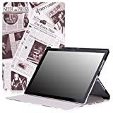 Microsoft Surface Pro 4 Case - MoKo Ultra Slim Lightweight Smart-shell Stand Cover Case for Microsoft Surface Pro 4 12.3 inch Tablet, Newspaper COFFEE
