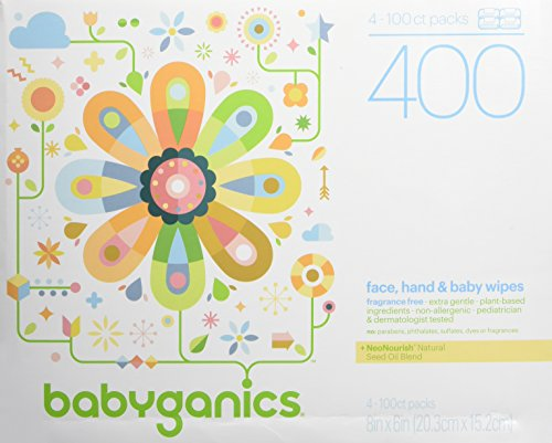 : Babyganics Face, Hand & Baby Wipes, Fragrance Free, 400 Count (Contains Four 100-Count Packs)
