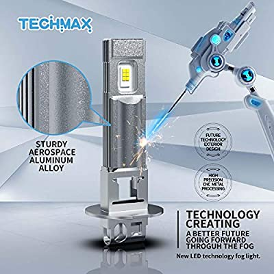 TECHMAX H3 LED Fog Light Bulb,DRL 6000K Xenon White 2800LM 60W 320°Beam Angle Pack of 2: Automotive