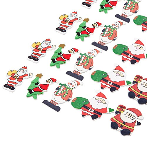 Santa Wall Claus (Juvale Wooden Christmas Ornaments - 50-Pack Adhesive Christmas Miniature Decorations - Small Wood Santa Claus Snowman Figures Cutouts Wall Decals - 5 Assorted Designs, White, Green and Red)