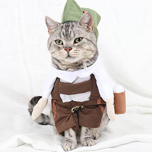 KathShop Barman Beer Waiter Cat Costume Hat Cosplay Suit Pets Funny Cat Clothes Clothing Halloween Costume Vetement Chat S-XL -
