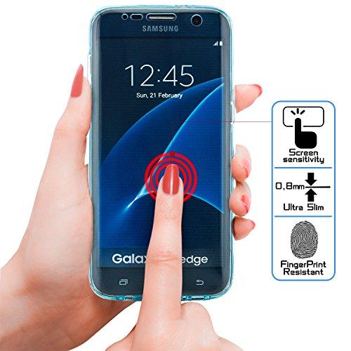 zanasta Designs Samsung Galaxy S7 Edge Funda Cubierta Case Cover Silicona Flexible Soft Shell Protección para las partes delantera y trasera, Transparente Azul