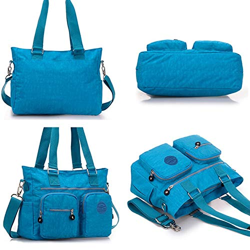 Premium Nylon Resistant Tote for Bag Women Blue Cross Tiny Ocean Water Shoulder Handbag Chou Multipurpose Body awqtX1I
