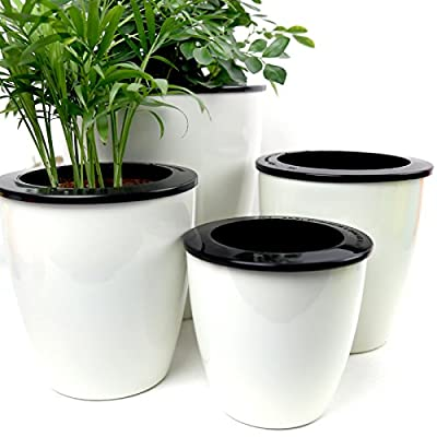 Mkono 3 Pack Clever Self Watering Planter Automatic Watering Pot PP Plastic Home Office Decor Planter-White